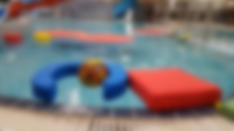 Inflatable pool equipment at Knaresborough Pool in Harrogate