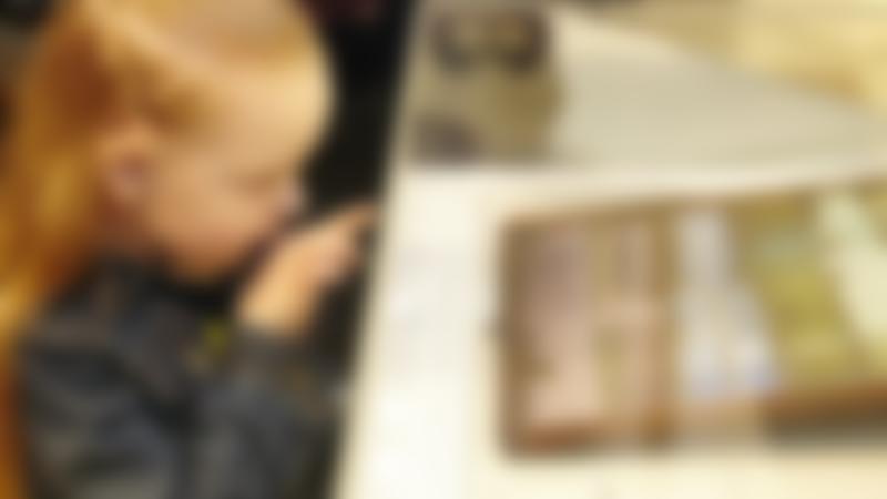 Girl looking at display at World of Wedgwood in Barlaston