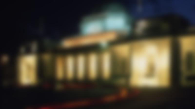 Outside view of National Museum Cardiff at night