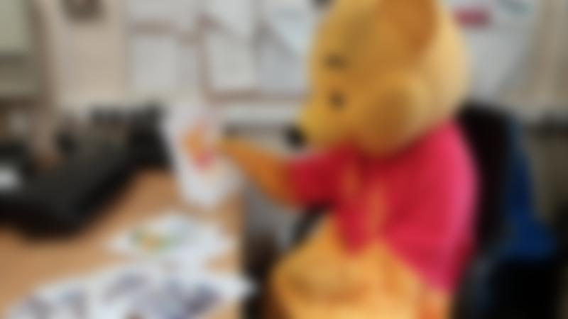 Winnie the Pooh looking at drawing at Aldenham Country Park in Elstree