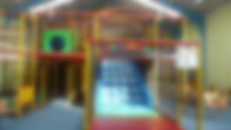 Indoor soft play frame and slide at Big Blue Frog in Halifax