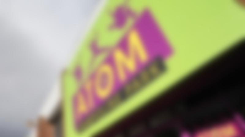 Entrance sign of Atom Trampoline Park in Reading
