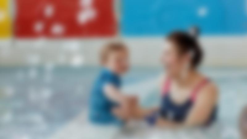 Mum and toddler in swimming pool at Wet n Wild in North Shields