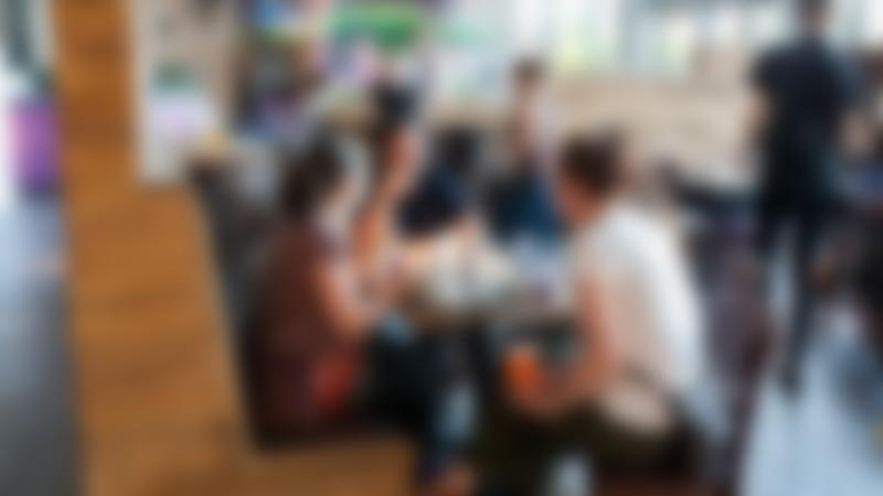 People eating in cafe at Rebound Ashby Trampoline Park in Ashby-de-la-Zouch