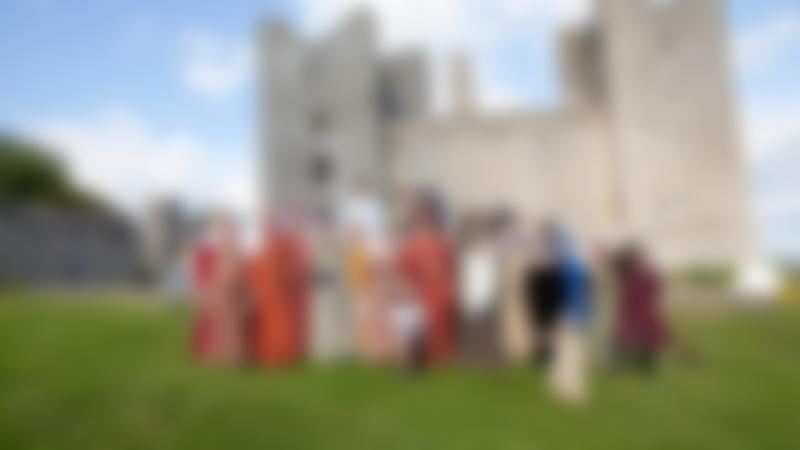 People in costumes at Bolton Castle in Leyburn