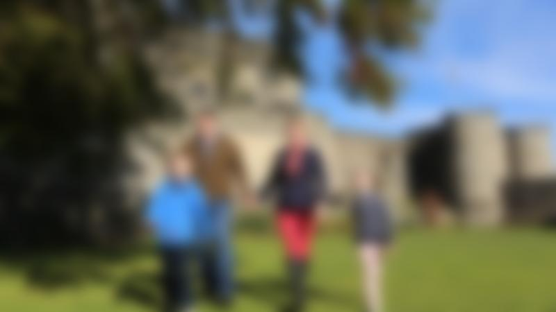 Family walking on grounds at Stirling Castle