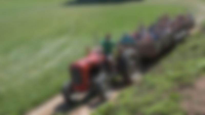 Families on tractor ride at Newbridge Farm Park in Ledbury