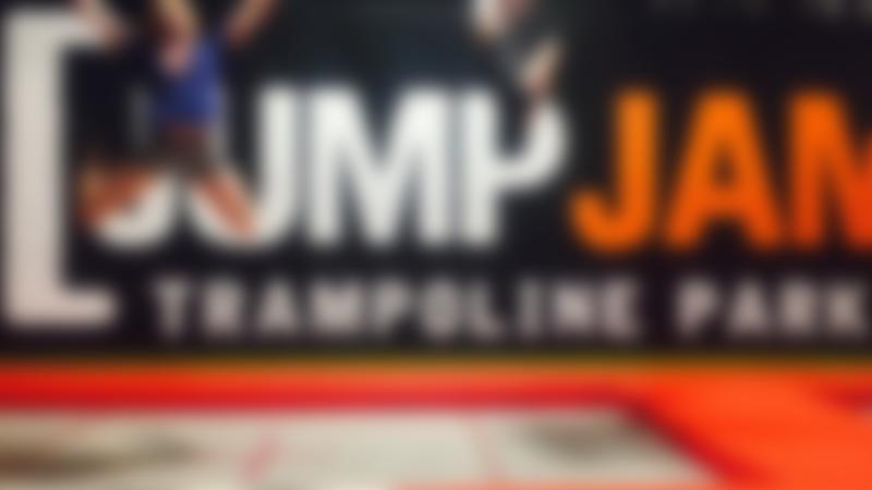 Girls jumping on trampolines at Jump Jam Trampoline Park in Bridgend
