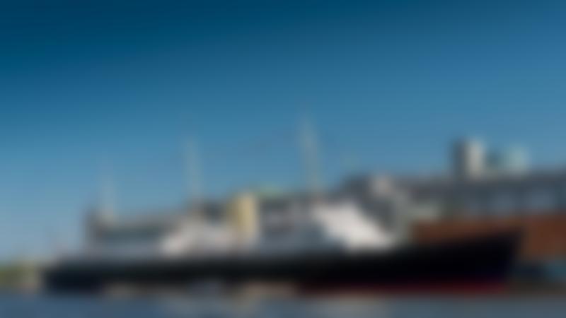 The Royal Yacht Britannia docking in Edinburgh