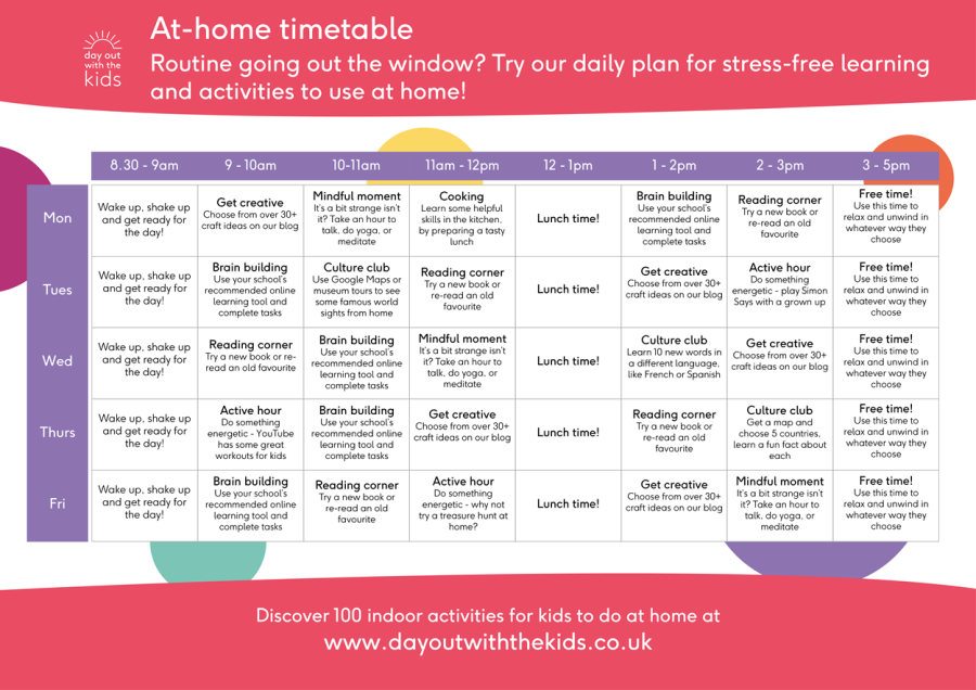FREE Home learning timetable available to download